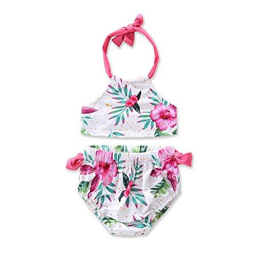 SCFEL Baby Mädchen Kinder Lovely Flower Halter Badeanzug 2 Stück Bikini Set (4T) (4t Badeanzug 2 Stück)