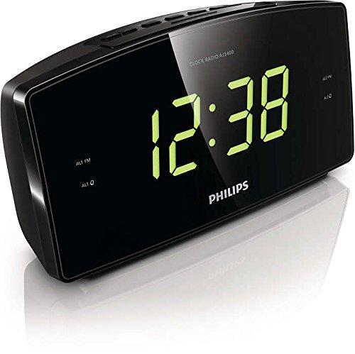 Philips AJ3400 Radiowecker mit großem Display (Digital UKW, 2 Weckzeiten, Sleep-Timer), schwarz - 2