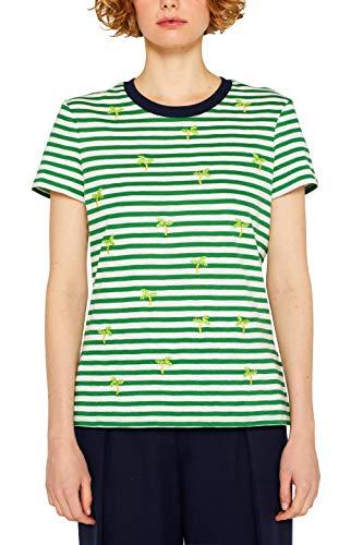 edc by ESPRIT Damen 049CC1K027 T-Shirt, Grün (Dark Green 300), X-Small (Herstellergröße: XS) - Damen Besticktes T-shirt