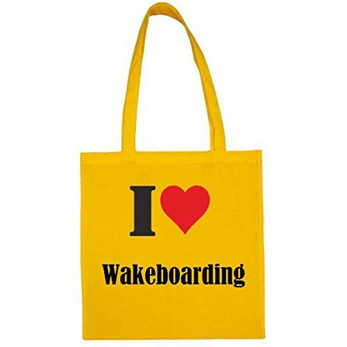 """Tasche""""I Love Wakeboarding""""Größe""""38x42""""Farbe""""Gelb""""Druck""""Schwarz"""