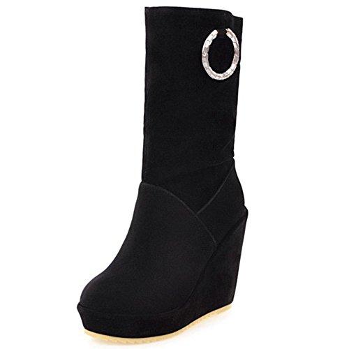 TAOFFEN Femmes Automne hiver Talons Compenses Chaussures Cuissarde Normal Bottes et Bottines Black