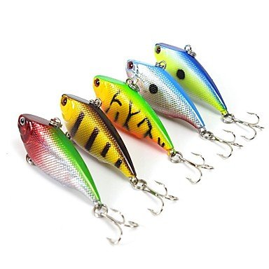 Ty 5pezzi esche da pesca esca dura vibrazione/vib colori assortiti g/oncia ,55mm/2–1/10,2cm pollici, duro plasticsea esca per la pesca casting spinning