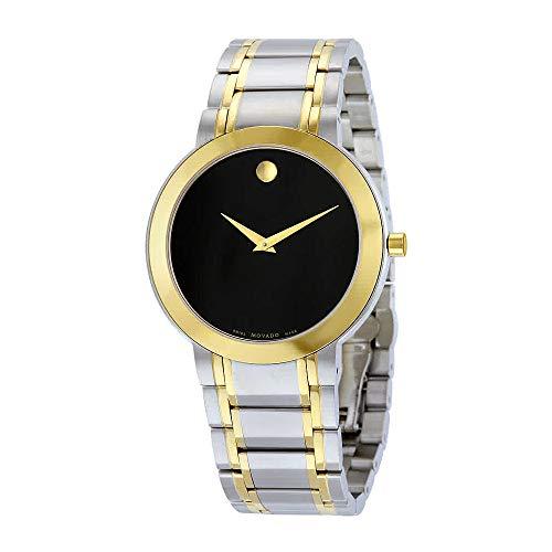 Movado Men's Stiri 40mm Two Tone Steel Bracelet Steel Case Quartz Black Dial Analog Watch 0606950