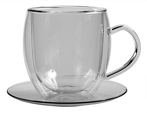Feelino Bullino große doppelwandige 400 ml Glas-Thermotasse mit Untersetzer edle und extra große Glas-Teetasse / Kaffeetasse mit Schwebeeffekt, Glastasse mit Henkel und Untersetzer im Geschenkkarton