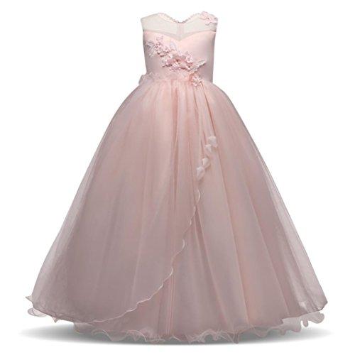 Btruely Prinzessin Kleid Mädchen Brautjungfern Kleid Abendkleid Blumen Cocktailkleid Hochzeit Partykleid Tüll Festzug Kinder Spitze Kleid (170, Rosa)