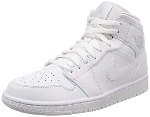 Jordan Air 1 Mid, Sneaker a Collo Alto Uomo, Bianco Pure Platinum White 104, 44.5 EU