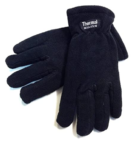 1 Pairs of Mens Microfibre fleece Gloves Thermal Insulation Fully Lined Black