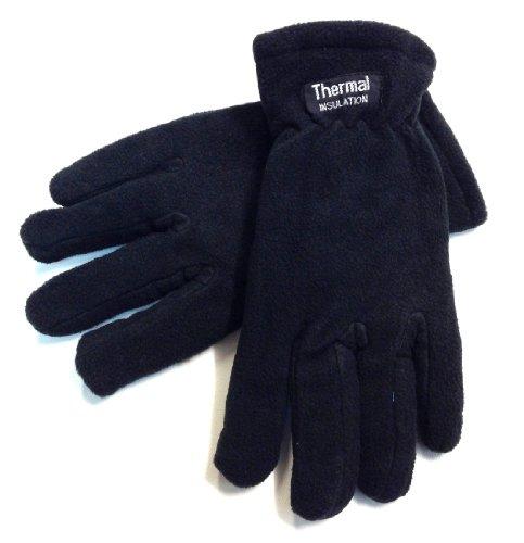 Preisvergleich Produktbild 1Paar Herren Mikrofaser Fleece Handschuhe Thermo-Isolierung komplett gefüttert schwarz