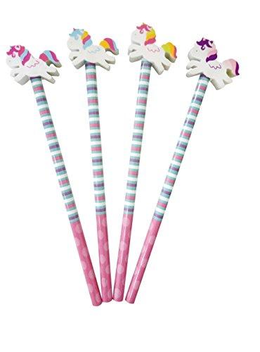4 Bleistifte * EINHORN * mit Radiergummi für Schule und Kindergarten // in zufällig ausgewählten...