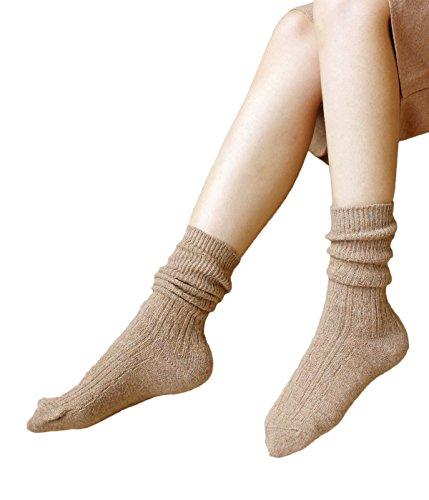 Zando Donna tutte le stagioni, controllo dell' umidità, Hiking, confortevole calzini Khaki Taglia unica