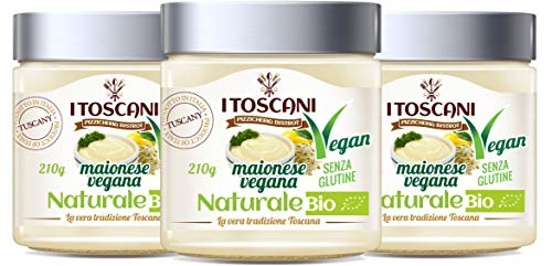 Maionese Vegana BIO al Naturale 3 confezioni da 210 g - i Toscani - Agrifood Toscana, Senza GLUTINE, senza CONSERVANTI aggiunti, italia