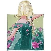 Disney Frozen la Reina Elsa Poncho Toalla con Capucha, Verde, 50 x 100 cm