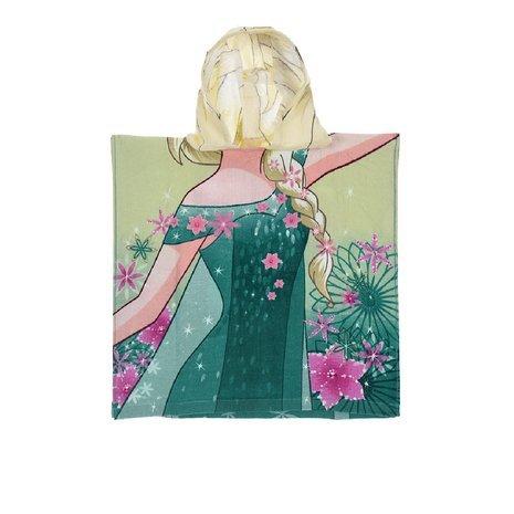 Disney Frozen la Reina Elsa Poncho Toalla con Capucha, Verde, 50x 100cm