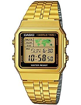 Casio Herren Digital mit Edelstahl Armbanduhr A500WEGA1EF