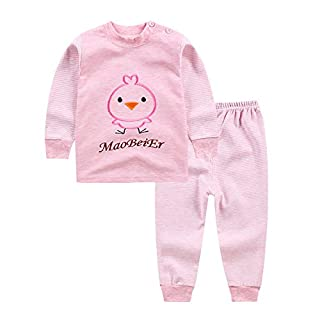 ATWFS Boys & Girl Two Pieces Pyjama Sets, Top + Pant (Pink, 3T)