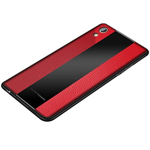 BINGRAN Oppo F1 Plus Hülle, Spleißen Kontrastfarbe PU Leder Glas Rückseite Case mit Flex Weiche TPU Silikon Stoßstange Rahmen Schützende Hülle für Oppo F1 Plus/Oppo R9 5.5