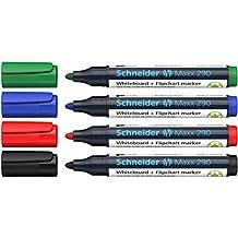 Schneider Maxx 290 Marker (für Whiteboards und Flipcharts, Rundspitze 2-3 mm Strichstärke, rückstandsfrei trocken abwischbar, hohe Qualität, kräftig und farbintensiv) Etui mit 4 Farben