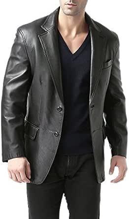 BGSD Men's Grant 2-Button Leather Blazer Lambskin Sport Coat Jacket (Regular, Big & Tall and Short)