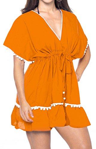 LA LEELA Designer Spitze gearbeitet Strand Schwimmen vertuschen Tunika Kaftan Orange