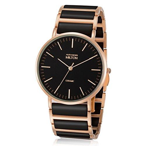 ALEXANDER MILTON - montre femme - CERES, noir/dore rose