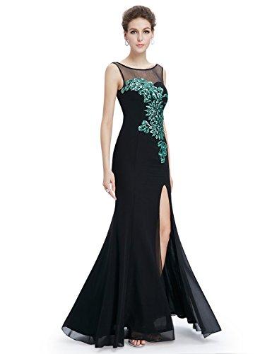 Ever Pretty Robe de Soiree Longue Elegante Fendue avec un V-Col en Dos 08759 Noir