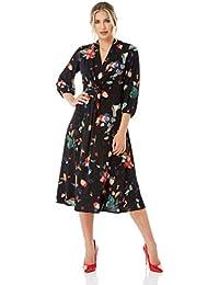 5f752cefeaf8 Roman Originals Women Floral Print Midi Dress - Ladies V-Neckline 3/4  Sleeve Going Out Smart Business Interview…