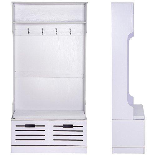 TecTake Guardaroba con panca con due cassetti in legno appendiabiti ...