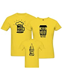 PepperClub Family Tshirt - Set of 3 For Mom Dad and Kids-Beer Coffee Milk