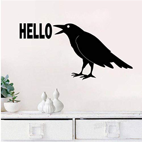 Rabe Hallo Wandtattoo Vogel Aufkleber Krähe Tier Dekorationen Schild Home Wohnzimmer Schlafzimmer Abnehmbarer Eingangsbereich Dekor 57x29cm - Hallo Wandtattoo