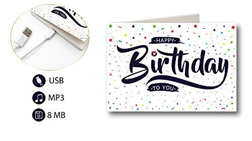 PlayMegram Audio-Geburtstagskarte mit USB, Für Geburtstag Sprachnachrichten und Musik bis zu 8 Minuten länge, Glückwunschkarte, Musik Geschenk, Kreative Geschenkidee