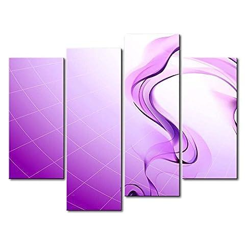 Impression sur toile Décoration murale Image pour Home Decor Violet fumée 4pièces peintures moderne giclée tendue et encadrée illustrations à l'huile d'images à la abstraite Impressions Photo sur toile