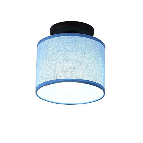 Modern Flur Deckenleuchte Zeitgenössische Runde Design Balkon Deckenlampe Dekorative Decken Beleuchtung Stoff Metall Leuchte Textil Lampeschirm E27 Stoffschirm Foyer Garage Umkleideraum Blau - Blaue Decken-beleuchtung