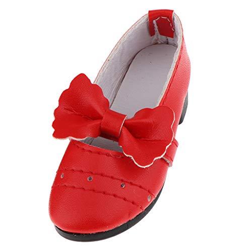 Fenteer Mode Prinzessin Hochhackige Schuhe mit Schleife für 1/3 Mädchen Puppe Kleidung Zubehör - Rot (Mädchen Rot Pailletten Kostüm Heels)