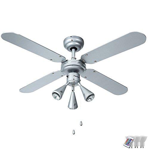 Schon Decken Ventilator Dimmer Fernbedienung Lüfter Spot Lampe Beweglich Im Set  Inkl RGB LED Leuchtmittel