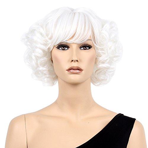 STfantasy 20er Frauen Perücken kurze weiße Perücken für Anime Cosplay Frau Claus Fancy Dress Party Halloween Karneval Kostüm