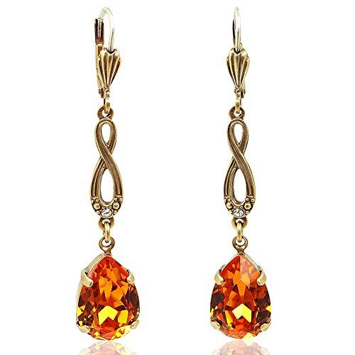 Jugendstil Ohrringe mit Kristallen von Swarovski Orange Gold NOBEL SCHMUCK