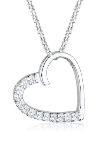 Elli Damen Halskette 925 Sterling Silber Kristall Swarovski 45 cm weiß