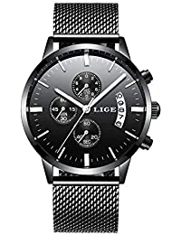 55b7bb676314 Relojes Hombre Luxury Brand LIGE Reloj de Cuarzo analógico Deportivo de  Acero Inoxidable a Prueba de