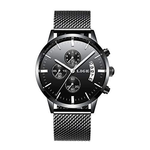 b074f19abbf3 lige Orologi uomo di marca di lusso orologio sportivo impermeabile in  Acciaio inossidabile analogico al quarzo