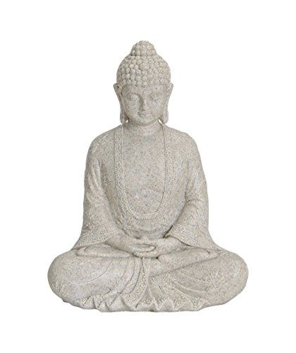 Figura de Buda sentado, 23cm en beige | artículos de decoración para casa, casa & Jardín | Escultura de Buda, Accesorio ideal de Salón o regalo | impermeable. Estatua de Buda Feng Shui Decoración | Figura de Jardín