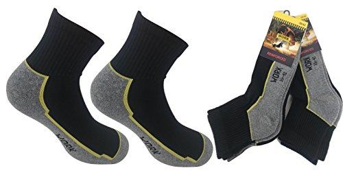 6 paia calze calzini corti (sopra la caviglia) di cotone uomo da lavoro - tessuto trama rinforzata per tutta la lunghezza della pianta del piede (43-46)
