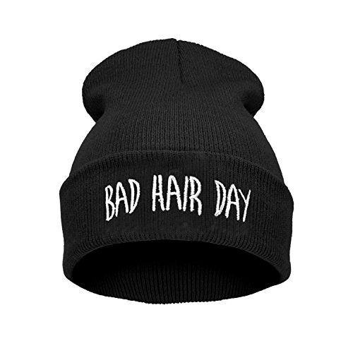 Bad Hair Day Beanie Mütze Haube Wintermütze Strickmütze Einstickung Cool Modisch, Schwarz, one size ()