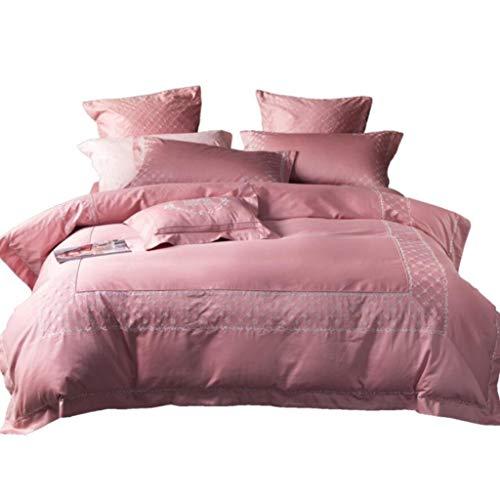 ZHFC Bettwäsche,100% Baumwollsatin-Bettbezug-Sätze, Ultra weiche Microfiber Schlafzimmer-Schoner Schützt und bedeckt Ihren Tröster, rosa erstklassige Bettwäsche-Sammlung,pink_King 220 * 240cm -
