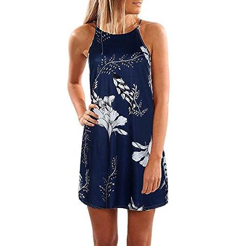 Été Rétro Fleur impression Simple Mode Sling Robe pour Femmes (M, Bleu foncé)