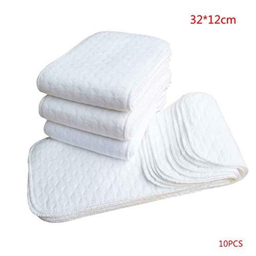 Vkospy 10PCS Wiederverwendbare Baby-Windel-Tuch-Windel-Einsätze 1 Stück 3 Schicht-Einsatz 100% Baumwolle waschbare Baby-Pflegeprodukte