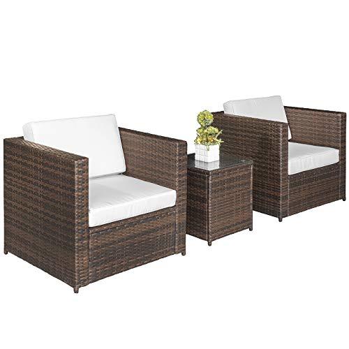 Outsunny set mobili da giardino 3 pezzi 2 divani 1 tavolino con piano in vetro temperato rattan marrone