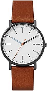 ساعة انالوج من الجلد بمينا ابيض للرجال تحمل شعار علامة سكاجين - SKW6374