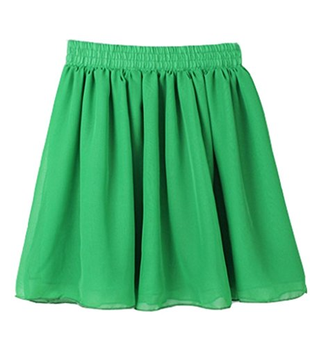 Minetome Damen Rock kurz Sommer Trading Retro Sexy Chiffon Rock Faltenröcke Minikleid Tüllrock Grün