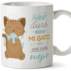 MUGFFINS Tazas Desayuno Originales graciosas para Amantes de los Gatos – Trabajo Duro para Que mi Gato Tenga una Vida Mejor – Regalo molón Gatos 350 ml