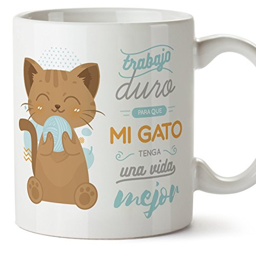 MUGFFINS Tazas Desayuno Originales graciosas para Amantes de los Gatos - Trabajo Duro para Que mi Gato Tenga una Vida Mejor - Regalo molón Gatos 350 ml
